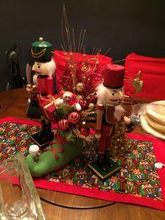 Christmas nutcracker gold and red elf shoe centerpiece!