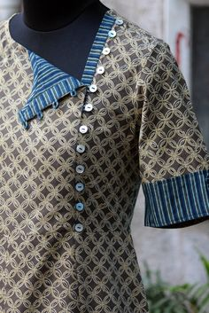 asymmetrical dress - biscotti brown & indigo lines
