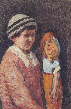 Young Girl with Doll, by Henri MARTIN (1860-1943)