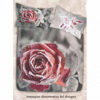 Cogal Copripiumino.Copripiumino Matrimoniale Flanella Cogal Rosa Rossa Ambientato