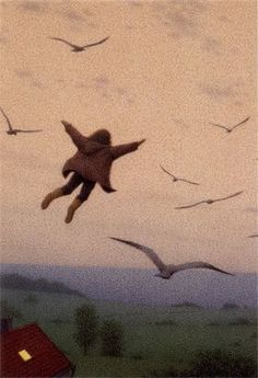 "ausflug Quint Buchholz (German, ~ The Flying Child (from ""Wer das Mondlicht faengt [Who the Moonshine Catches] Psy Art, Children's Book Illustration, Wall Collage, Illustrators, Art Photography, Images, Drawings, Photos, Inspiration"
