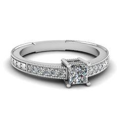 0.55ct G-SI1 GIA Diamond Engagement Ring Princess Diamond 18kt White Gold JEWELFORME BLUE