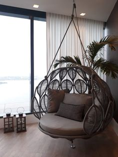 Hanging swing chair with cushions ,beach ,garden ,cozy - rustic master bedroom+bachelor bedroom+girl bedrooms+nautical bedroom+hygge decor bedrooms+styled k - Porch Furniture, Furniture Design, Room Decor Bedroom, Living Room Decor, Bedroom Bed, Swing Chair For Bedroom, Master Bedroom, Living Spaces, Diy Casa