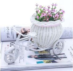 EYFL 2016 Hot Sale New Plastic White Tricycle Bike Design Flower Basket Container For Flower Plant Home Weddding Decoration   http://www.dealofthedaytips.com/products/eyfl-2016-hot-sale-new-plastic-white-tricycle-bike-design-flower-basket-container-for-flower-plant-home-weddding-decoration/