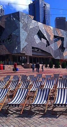 "Federation Square - Melbourne entertainment Australia ""Down Under"" outdoor style - by Jen Nixon Melbourne Australia, Australia Travel, Melbourne Tourism, Melbourne Victoria, Victoria Australia, Perth, Brisbane, Sydney, Tasmania"