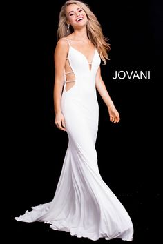 06ef6149371 Floor length form fitting off white stretch jersey prom dress with small  train features spaghetti straps