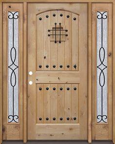 Rustic Knotty Alder Wood Door Unit with #299 Sidelites #UK20