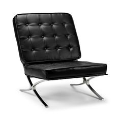 BARCELONA CHAIR, STOOL OR 2 SEATER BLACK BONDED LEATHER | eBay