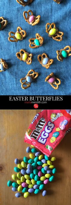 Make these Easter Butterflies with your kids. Only 3 ingredients & so fun! Easter Snacks, Easter Candy, Easter Treats, Easter Recipes, Pretzel Treats, Pretzel Desserts, Pretzels, Easter Crafts For Kids, Easter Projects