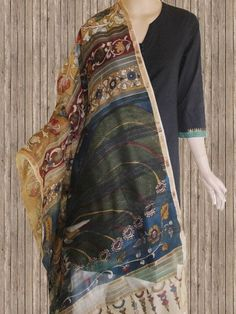 Buy Peacock - Hand Painted Missing Weave Silk Cotton Dupatta
