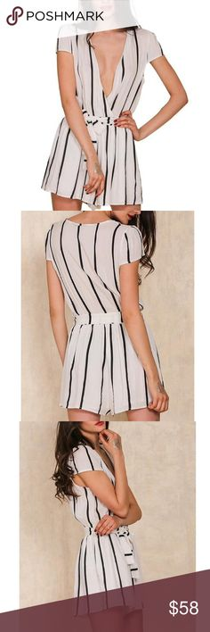 Deep V Neck Striped Casual Romper with Belt Polyester V Neck, Short Sleeve Above Knees, Summer style Pants Jumpsuits & Rompers