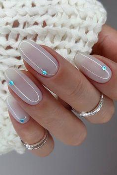 Classy Nails, Cute Nails, Pretty Nails, Classy Acrylic Nails, Fancy Nails, Wedding Manicure, Bridal Nails, Blue Wedding Nails, Nail Wedding