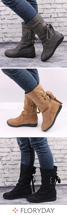 Fashion flat womens boots Cheap Boots Hot · Eoooh❣❣ · Online Store Powered by Storenvy Ankle Boots, Mid Calf Boots, Bootie Boots, Women's Boots, Dress Boots, High Shoes, Flat Shoes, Look 2018, Baskets