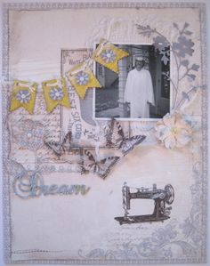 """Close up of 2nd page of Dawn Rene Layout, Pion Design paper """"Alma's Sewing Room"""" available at scraptownlady.com"""