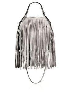 Stella McCartney - Falabella Mini Baby Bella Metallic Fringed Faux Suede Shoulder Bag