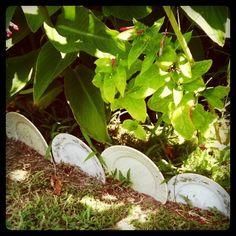 Plates as garden edging