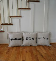 [for his big boy bed] University of Georgia Throw Pillow Series (pack of Georgia College, University Of Georgia, Georgia Bulldogs Football, Man Room, Down South, Porch Decorating, Dorm Room, Man Cave, Bed Pillows