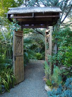 Balinese wooden gate of a property in Marin County CA