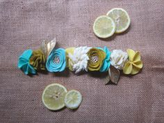 Aqua and Yellow Felt Flower Crown with Gold by BobanaBoutique