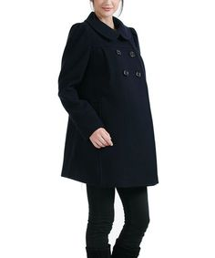 Take a look at this MOMO Navy Natalie Wool-Blend Maternity Coat by MOMO Maternity on #zulily today!