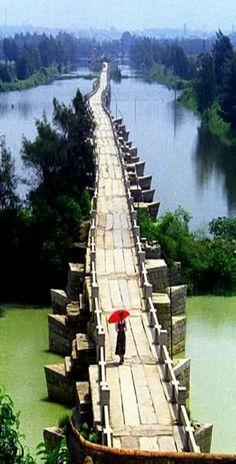 Anping Bridge, a Song Dynasty stone beam bridge in China's Fujian province ~ Built in 1138-1151