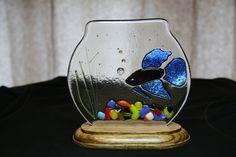 Blue Beta Fish Fused Glass Tank!!!!