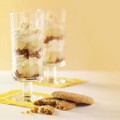 Gingersnap Pear Trifles. Crystallized ginger adds both sweetness and spice to this simple trifle. Layer in pears, crumbled cookies and whipped cream, and you have autumn comfort in a dish!