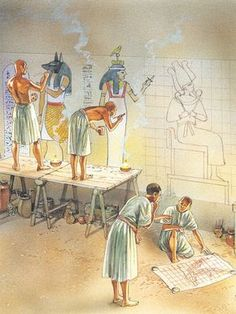 Sculptors and painters decorate the walls of a pharaoh's tomb with drawings and hieroglyphs.