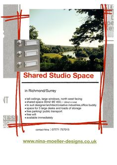 60 m sq. of shared studio space (30 m sq. each) is available with designer Nina Moeller Designs for only £450 pcm. Nina is a friend of mine and one of the loveliest people I know. Imagine the joy of sharing your creative space in the gorgeous Richmond area with Nina. Contact Nina on 0771 757015 http://www.nina-moeller-designs.co.uk/?utm_content=buffer35cd9&utm_medium=social&utm_source=pinterest.com&utm_campaign=buffer