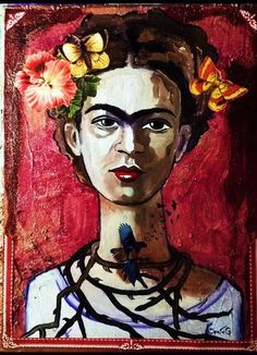 A personal favorite from my Etsy shop https://www.etsy.com/listing/522066930/frida-kalo-original-painting-mixed-media
