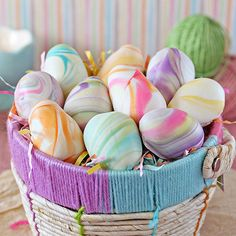 Marbled Easter Egg Truffles Brighten your Easter baskets by filling them with homemade candy instead of the store-bought variety. These Marbled Easter Egg Truffles are filled with a rich, smooth white chocolate ganache that can be flavored with any extr