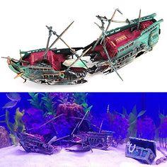 Look at this!  Bestgoo Live Action Split Shipwreck Aerating Aquarium Ornaments for Fish Tank Decoration Fish Boat