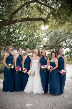 amsale bridesmaids in french blue chiffon : blue bridesmaids