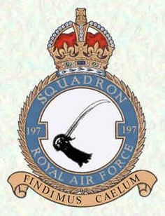 #197 Squadron Reformed at Turnhouse on 21 Nov 1942, the sqn received Typhoons in Dec and it was declared operational in Jan 1943. The sqn continued in the fighter-bomber role for the rest of war, following the advancing armies through France, Belgium and the Low Countries until it arrived in Germany in April. The sqn disbanded at Hildesheim on 31 Aug 1945. Military Cap, Military Insignia, Air Force Aircraft, Royal Air Force, Crests, Belgium, Badge, Awards, Germany