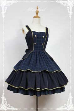 Elegant Golden Trim Straps Layered Skirt Lolita JSK With Bows Decoration on the Waist - Preppy by Souffle Song Pretty Outfits, Pretty Dresses, Beautiful Outfits, Cool Outfits, Old Fashion Dresses, Fashion Outfits, Sailor Dress, Kawaii Clothes, Alternative Outfits