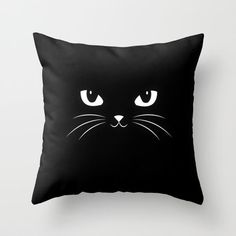 Cute Black Cat Throw Pillow by Badbugs_art