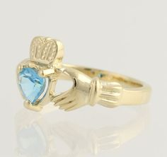 Blue Topaz Claddagh Ring 14k Yellow Gold by WilsonBrothers