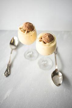 Honey and Saffron Zabaglione with Amaretti Crumble