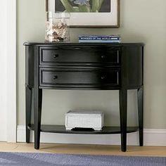 "L Powell ""Antique Black"" with Sand Through Terra Cotta Demilune Console Table"