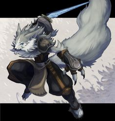 bad_id blue_eyes fur furry letterboxed no_humans parata pixiv_fantasia pixiv_fantasia_sword_regalia solo sword tail weapon wolf Character Concept, Character Art, Concept Art, Fantasy Creatures, Mythical Creatures, Fantasy Kunst, Fantasy Art, Pixiv Fantasia, Anime Furry
