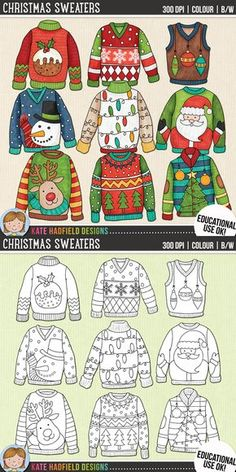 Ugly christmas sweaters clip art for teachers by kate hadfield designs teachers pay teachers supplied in both hand painted coloured versions and black and white outlines katehadfielddesigns Christmas Art Projects, Winter Art Projects, Christmas Crafts For Kids, Xmas Crafts, Christmas Diy, Christmas Doodles, Christmas Outfits, Christmas Cards, Cute Christmas Jumpers