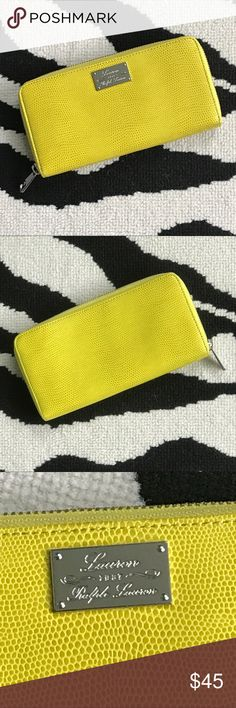 Ralph Lauren Wallet Accordion style zipper wallet. Bright cheery yellow/chartreuse color right on trend for the season. Very clean interior with ample card 💳 space, center zip pocket for change and two wall pockets for cash. Exterior great condition with slight wear on corner from basic use. Lauren Ralph Lauren Bags Wallets