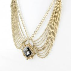 Exaggerated Square Faux Gem Pendant Tassels Necklace, GOLD in Necklaces | DressLily.com