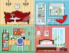 Stylish Graphic Rooms Set: Living Room, Bedroom, Home Office. Colorful Vector Furniture.  - Download From Over 50 Million High Quality Stock Photos, Images, Vectors. Sign up for FREE today. Image: 76672900