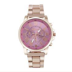 Roman Number Geneva Stainless Steel Quartz Sports Dial Wrist Watch