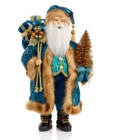 "Holiday Lane 18"" Peacock Santa Figurine, Only at Macy's"