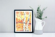 Giclee Art Print Fall Birch Trees Watercolor Painting