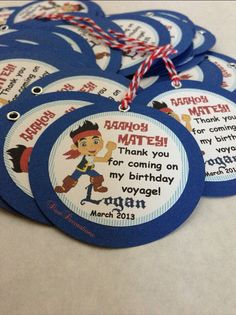 Jake and the Neverland Pirates Birthday Party Gift Tags
