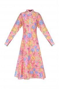 Pink Rose Printed Asymmetrical Dress