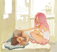 Ana waking the Director up -- a man and his daughter. Pre-story. Credit to Fukari.  (Terra: Eris)